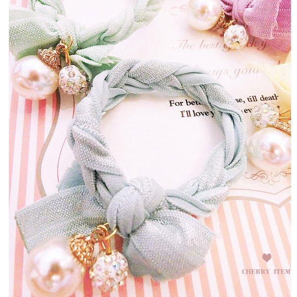 奶油色麻花繩珍珠造型髮束髮圈【櫻桃飾品】【20127】