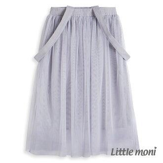 Little moni 法式浪漫吊帶式網紗蓬裙 - 灰石色