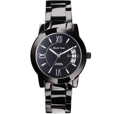 大高雄鐘錶城:RELAXTIME三針日期銀x黑腕錶(RT-36-2BM)38mm