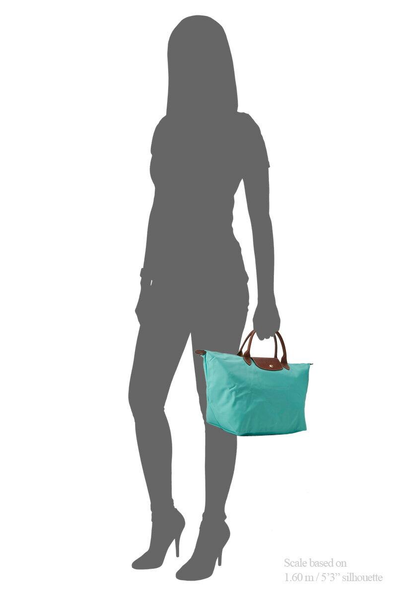 [1623-M號]國外Outlet代購正品 法國巴黎 Longchamp  短柄 購物袋防水尼龍手提肩背水餃包 湖綠色 4