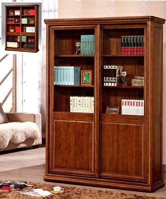 【尚品傢俱】 ※全實木※685-18 楊木5尺推拉門玻璃櫃書櫥書櫃《台中多區免運》
