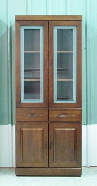 【尚品家具】614-53 樟木半實木2.7尺開門中二抽書櫃~另有下抽書櫃/書櫥/收納櫃