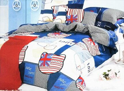KIKI貓 英國風系列   單人床包+枕頭套
