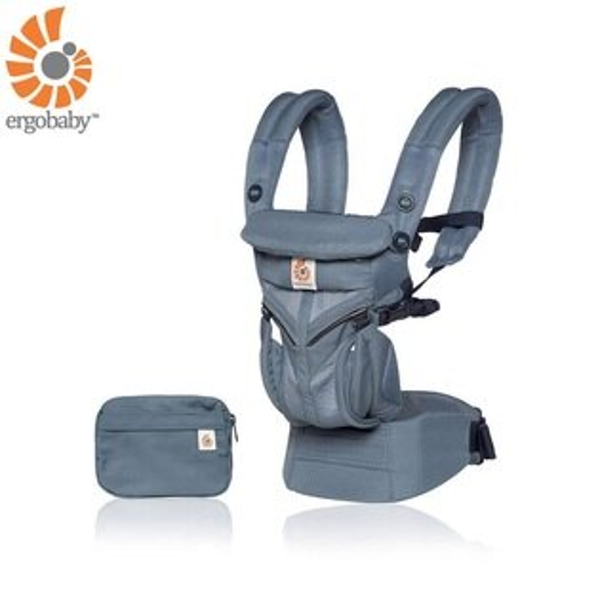 【送日本製拍嗝巾x1】美國【ErgoBaby】OmniCoolAirMesh全階段型四式360嬰兒揹帶透氣款(牛津藍)
