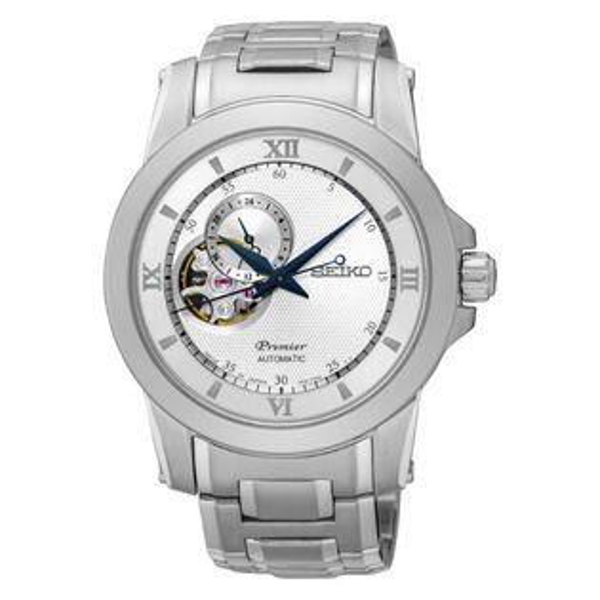 Seiko精工Premier4R39-00P0S(SSA319J1)藝術羅馬鏤空機械腕錶白面41.5mm
