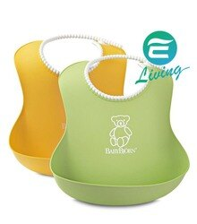 BABYBJORN Baby Bjorn Soft Bib 軟膠防碎屑圍兜 一組二入(綠+黃)