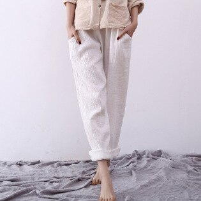 女裝雙層棉紗休閒褲純色鬆緊腰長褲樂天時尚館。預購。[全店免運]
