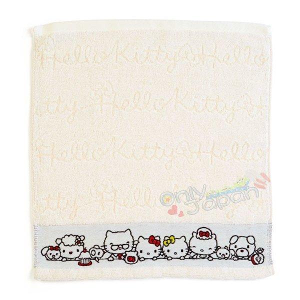 【真愛日本】4901610062531日本製繻子織純棉方巾-KT家族ADM凱蒂貓kitty三麗鷗家族方巾擦手巾