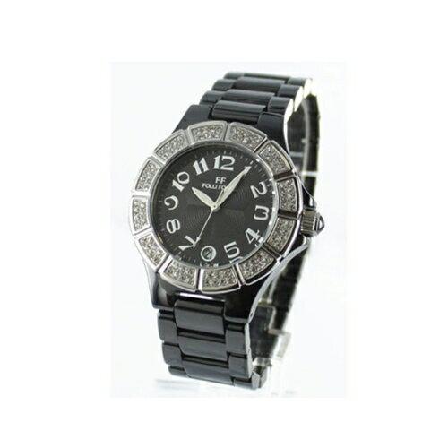 Folli Follie 耀眼奪目時尚晶鑽陶瓷錶/黑/WF9F005BDK