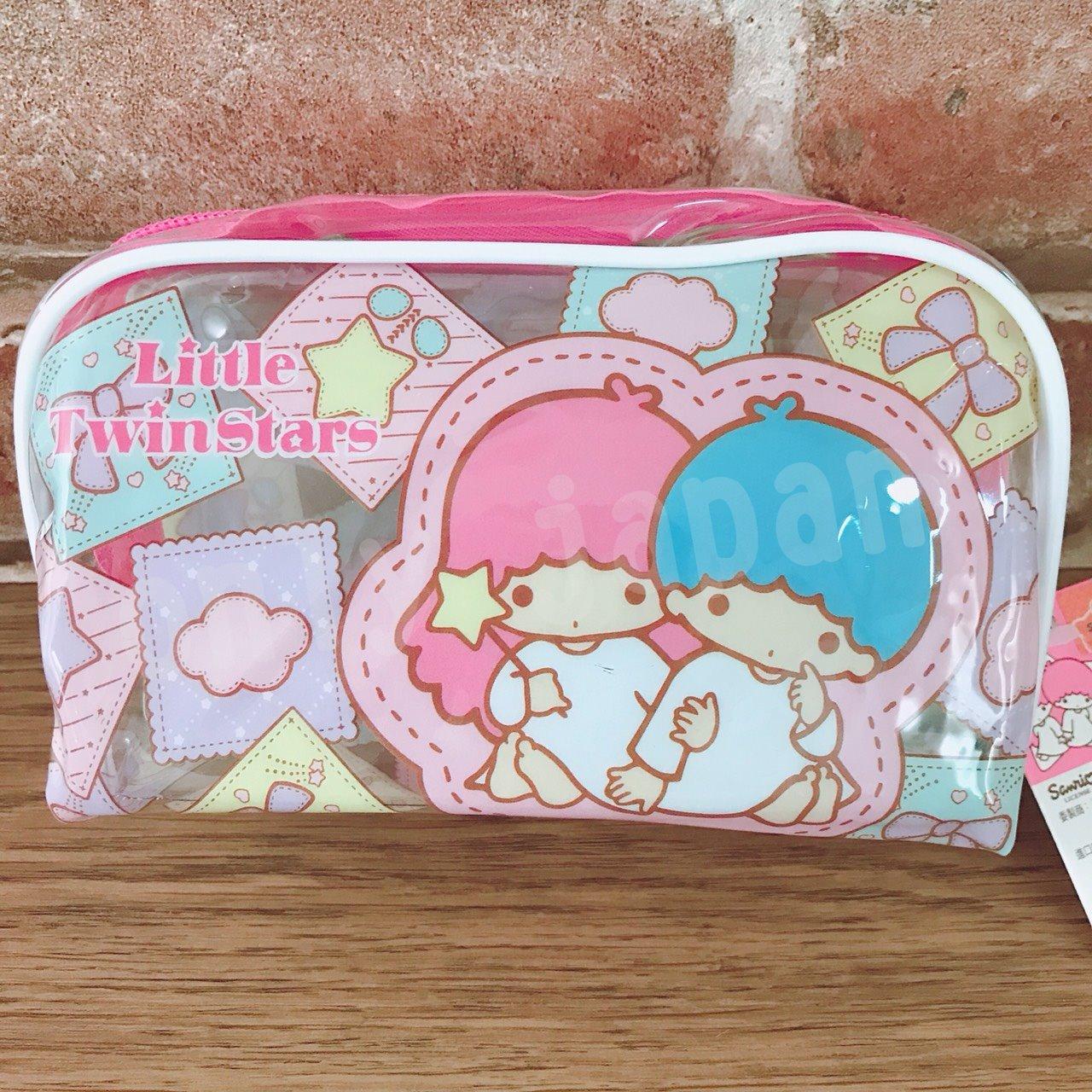 【真愛日本】 17090900001 透明大容量筆袋-TS斜紋粉 三麗鷗 kikilala 雙子星 鉛筆盒 化妝包