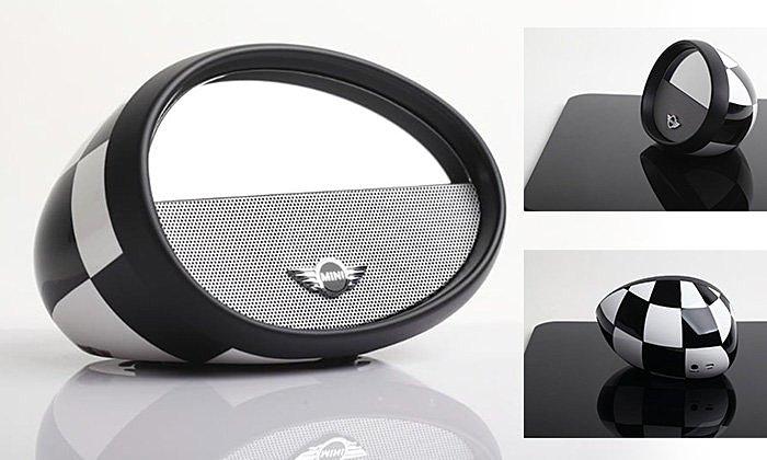 iUi Mirror Boombox 藍牙 立體聲音箱 喇叭 Mini Cooper 版 賽車黑白旗