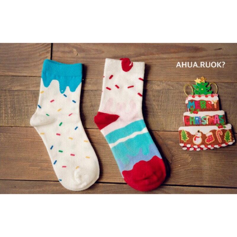 ~開幕 ~Caramella 冰淇淋蛋糕雙襪組 中筒襪 短襪 船襪 隱形襪 五指襪 文青情