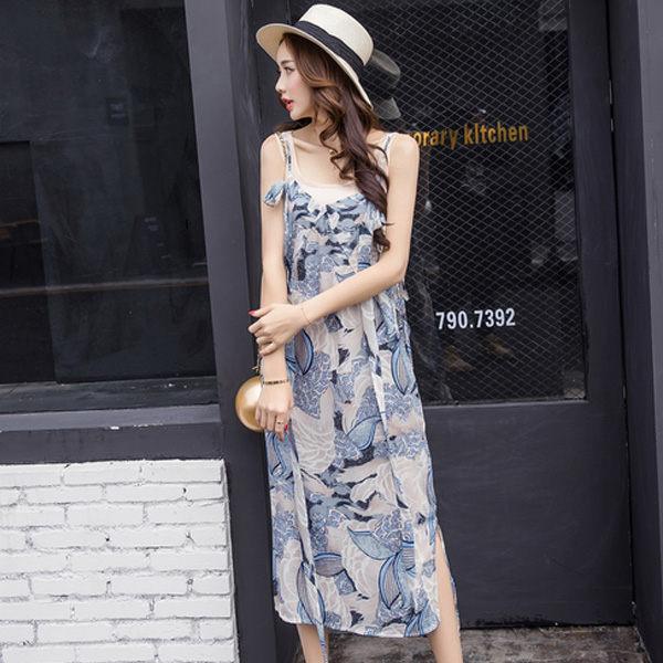 PS Mall 浮世繪風細肩帶連身裙 連身洋裝 兩件式休閒套裝【T769】 - 限時優惠好康折扣