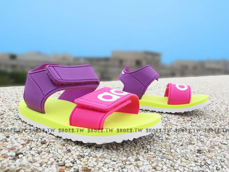 《下殺6折》Shoestw【S76627】ADIDAS 童鞋 涼鞋 小童 雙黏帶 海灘拖 紫黃桃