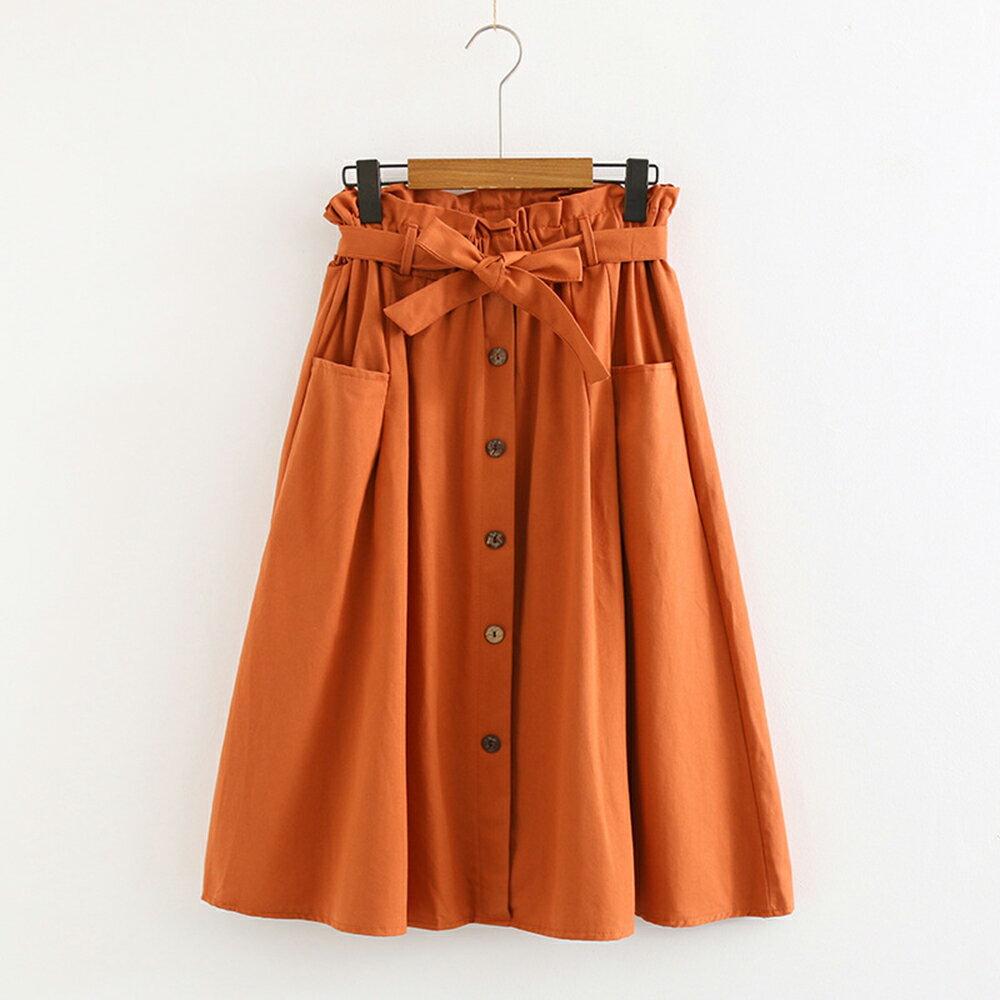 小清新大口袋高腰棉麻繫帶半身裙(4色F碼)【OREAD】 3