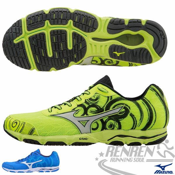 MIZUNO 美津濃 WAVE HITOGAMI 2 男路跑鞋(螢光綠*黑) 2015新款 慢跑訓練鞋