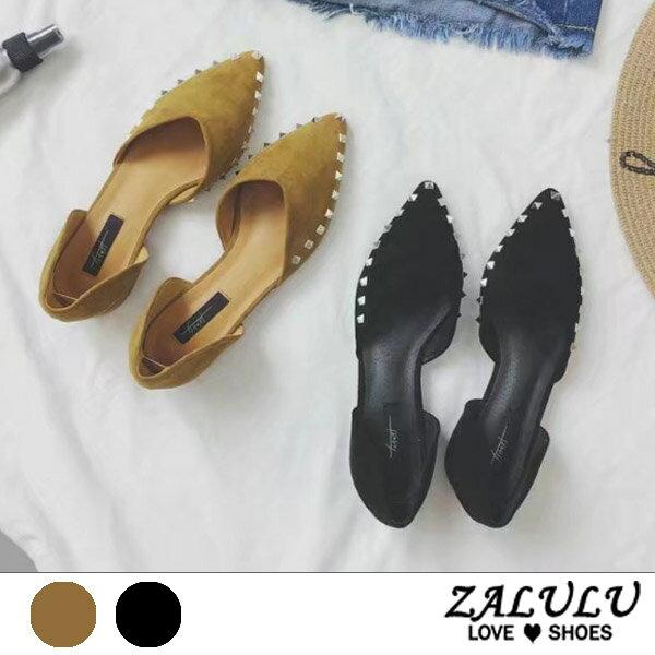 ZALULU愛鞋館7CE110預購絕對風格。鉚釘低跟平底尖頭包鞋-黃黑-35-39