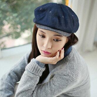 貝雷帽 毛呢拼接透氣英倫畫家帽貝雷帽【QI8323】 BOBI 04/21