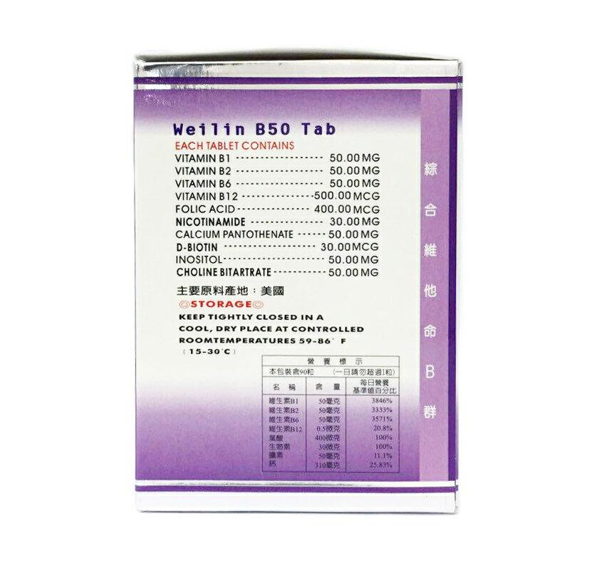 亞米貝比 唯益寧 綜合維他命B50 高單位 90錠/盒