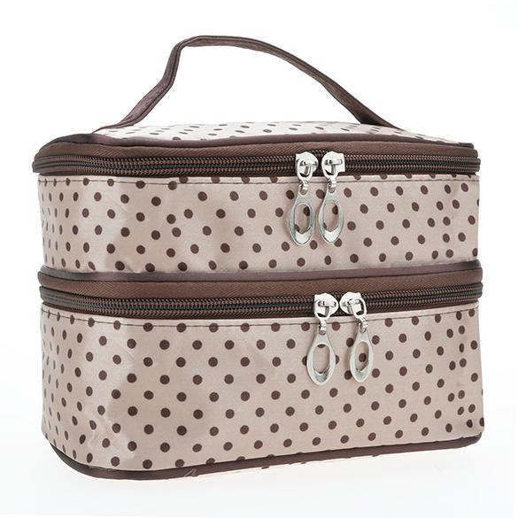 Portable Double-Deck Toiletry Bag Dot Pattern Makeup Bag 2
