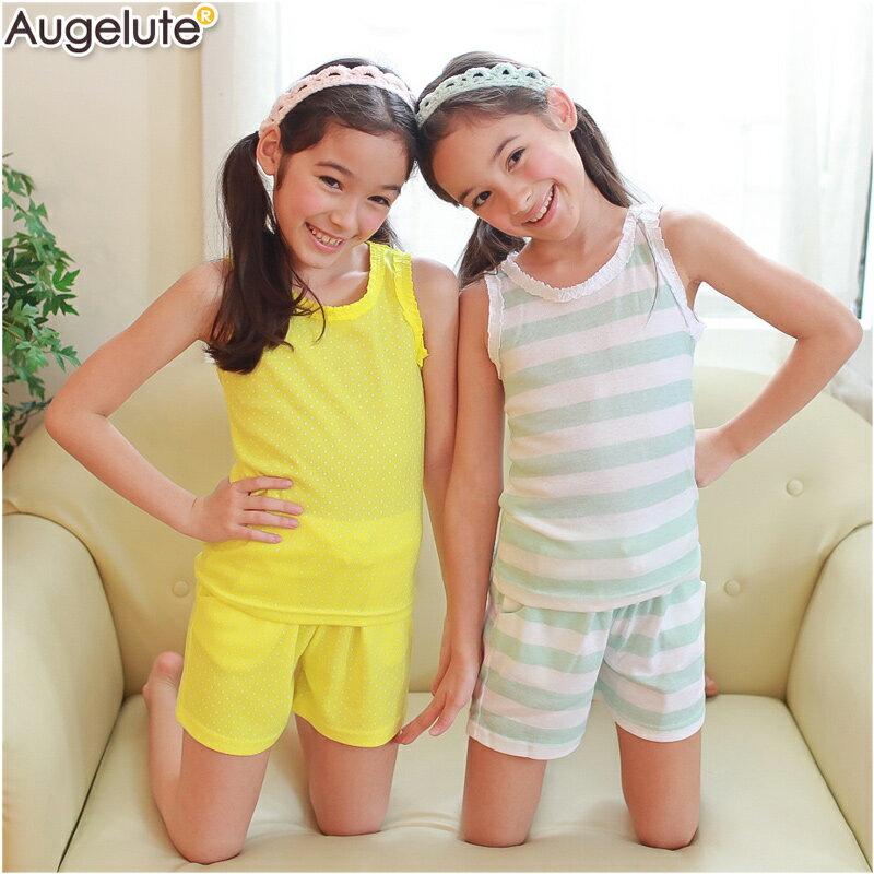 Augelute 女童 無袖滾邊休閒套裝 51013