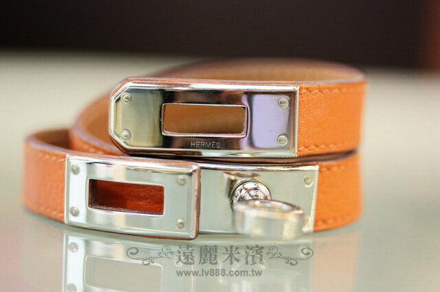 A6659 hermes愛馬仕93橘銀釦kelly epsom手環