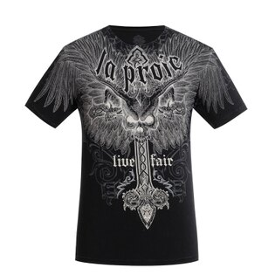 Laproie男式休閒短袖T恤-印花款(黑色)