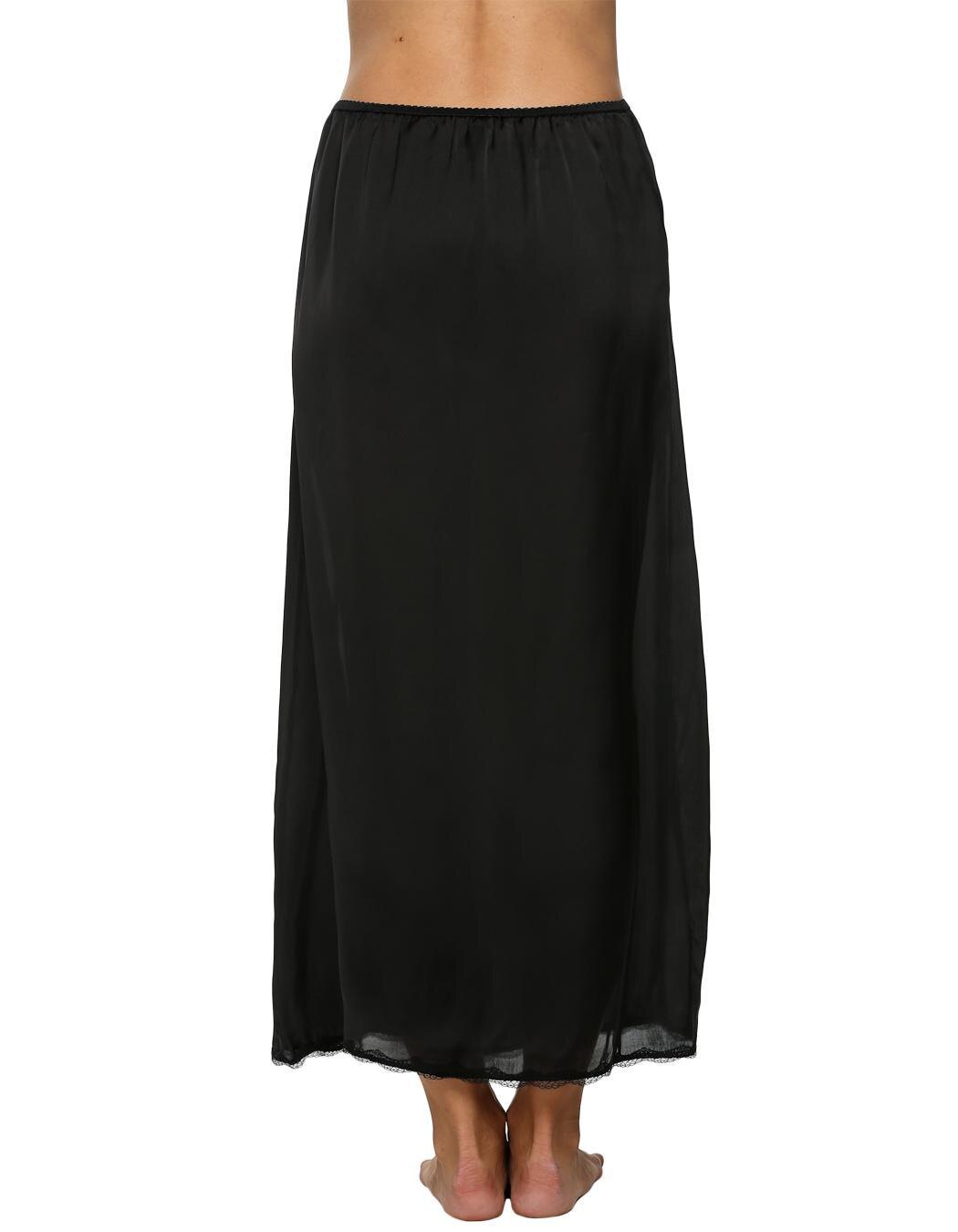Women Satin Solid Lace Trim Maxi Half Slip Underskirt Slip Skirt 2