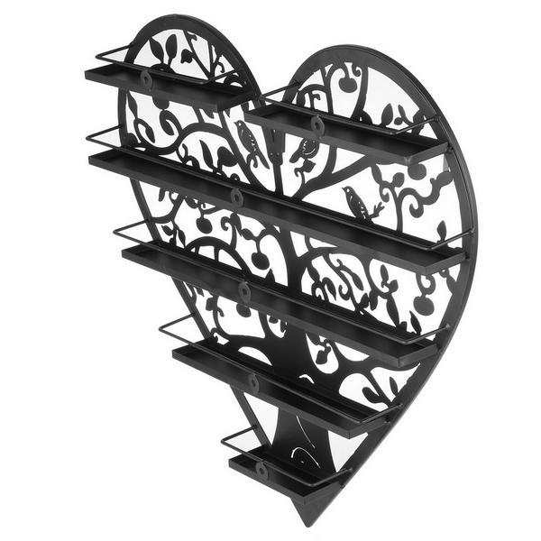 Heart Shape Nail Polish Wall Mount Metal Display Organizer Rack Holder 1