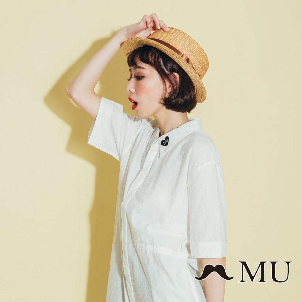 【MU】領子愛心刺繡長版襯衫(2色)8323263 4
