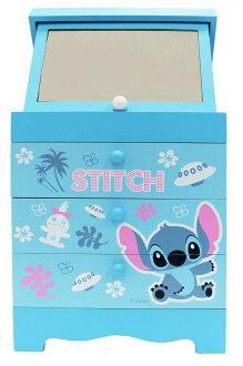 【真愛日本】17030800002 三抽上掀鏡-史迪奇可愛 迪士尼 星際寶貝 史迪奇 鏡子 收納盒