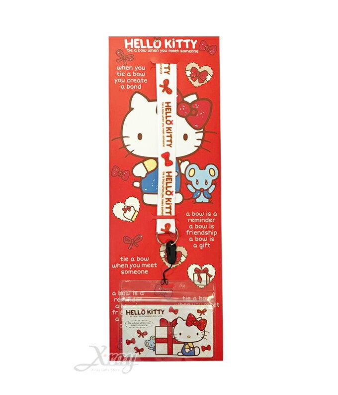 Hello Kitty蝴蝶結 彩色織帶證件套,開學/開學用具/收納包/悠遊卡套/隨身包/掛鍊/名片套/證件套,X射線【C669194】