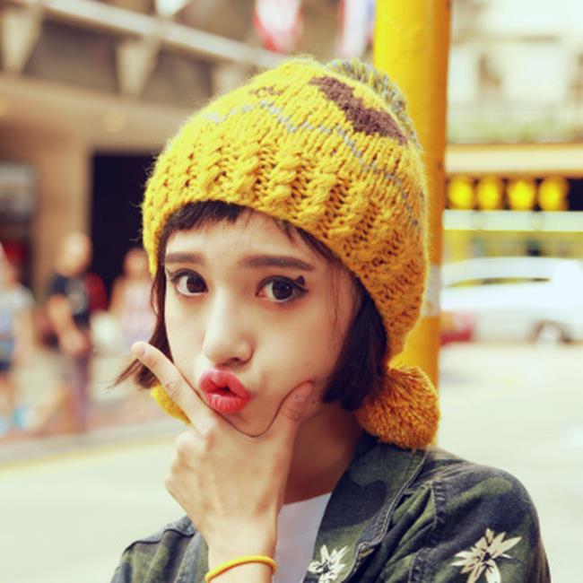 50%OFF【E020604WH】毛球針織護耳帽女卡通心形手工編織毛線帽針織帽子女潮韓國套頭帽 - 限時優惠好康折扣