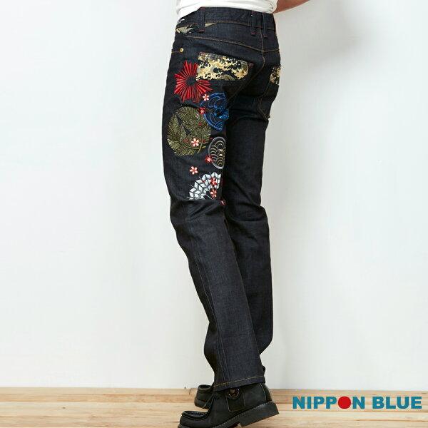 【春夏新品】宮本武藏五輪書-側身刺繡低腰直筒褲-BLUEWAYNIPPONBLUE日本藍