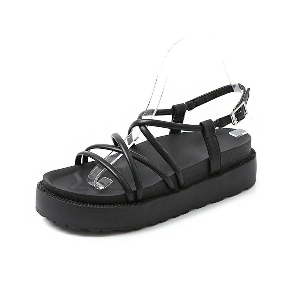 女夏涼鞋 涼鞋女夏厚底學生復古松糕港味中跟平底百搭羅馬沙灘 印象部落