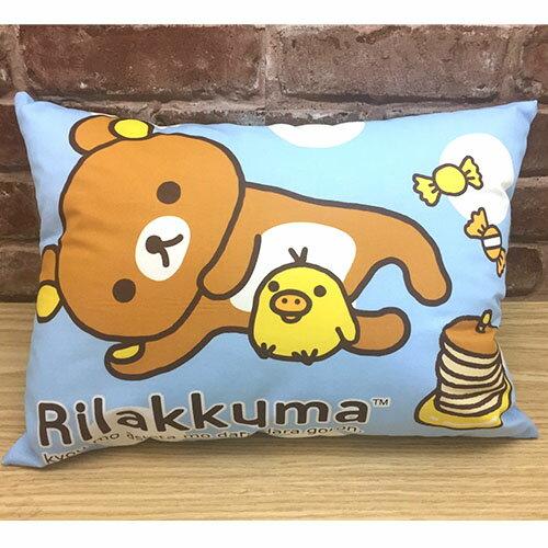 【真愛日本】17041500034 童枕-拉拉熊小憩片刻藍 SAN-X 懶熊 奶熊 拉拉熊 枕頭 靠枕 靠墊