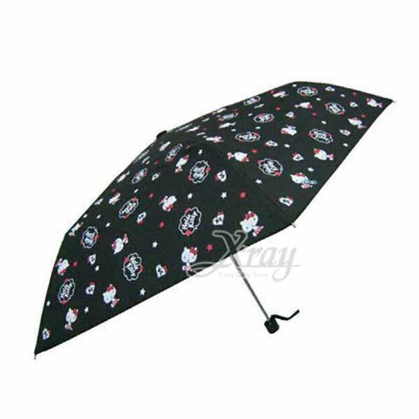 X射線【C653177】Hello Kitty 三折傘-黑,雨傘/雨具/晴雨兩用/自動收納傘/自動開合傘/高防曬UV傘