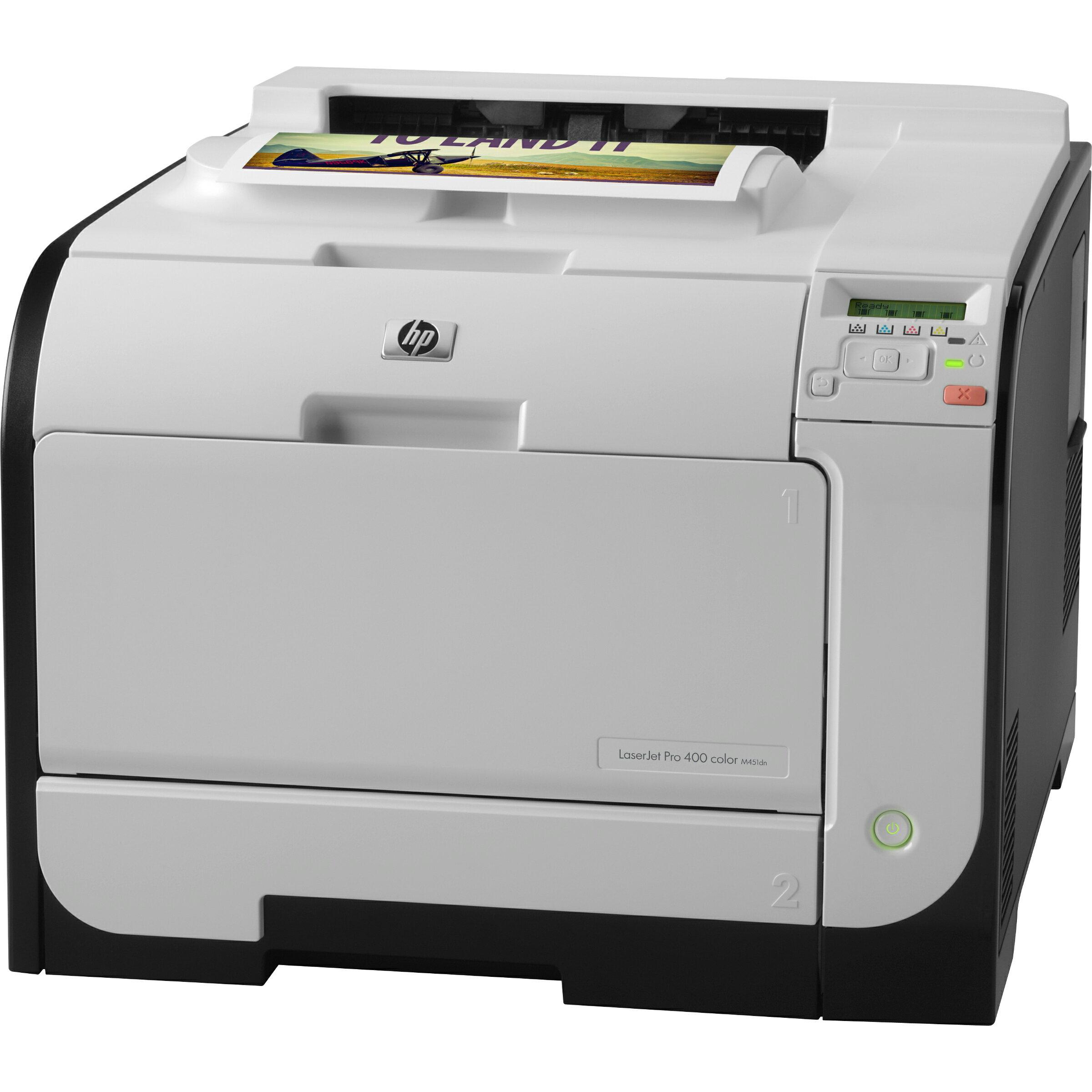 HP LaserJet Pro 400 M451DN Laser Printer - Refurbished - Color - 600 x 600 dpi Print - Plain Paper Print - Desktop - 21 ppm Mono / 21 ppm Color Print - 300 sheets Standard Input Capacity - 40000 pages per month - Automatic Duplex Print - LCD - Ethernet - 2