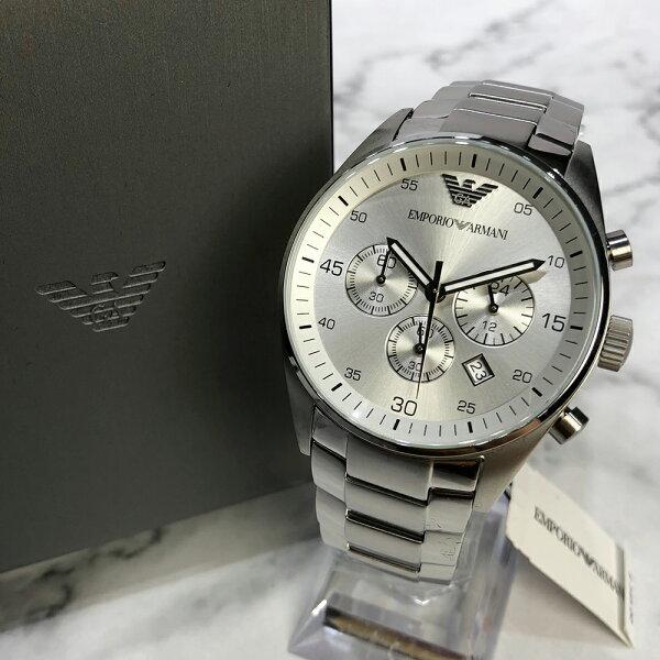 美國百分百【EmporioArmani】配件EA手錶腕錶男錶AR5963不鏽鋼三眼計時白銀J041
