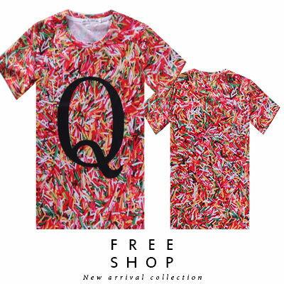 Free Shop【QFSLY3336】日韓美式字母大Q彩色巧克力米滿版印刷圓領棉質短T短袖上衣潮T