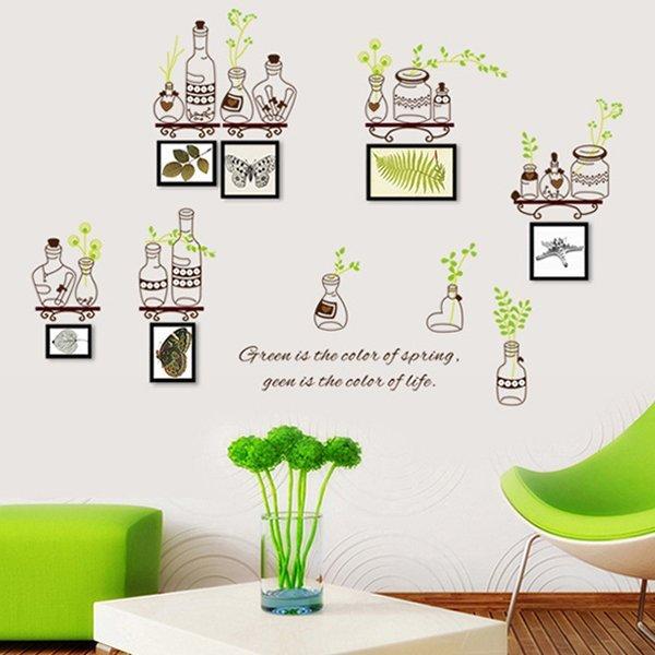 BO雜貨:BO雜貨【YV0617】DIY時尚裝飾組合可移動壁貼牆貼壁貼創意壁貼綠葉瓶子AY7254