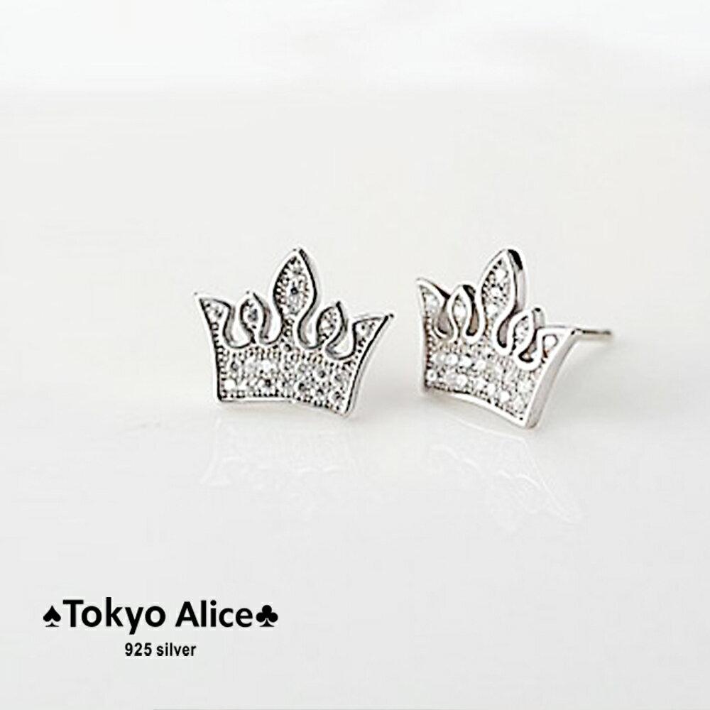 Tokyo Alice 925 純銀公主皇冠鋯石耳環,純銀飾品首飾耳飾貼耳針飾品(se0000119)
