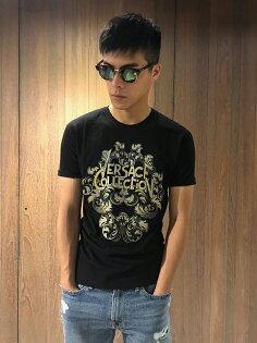 美國百分百【全新真品】Versace凡賽斯短袖T恤印圖logo短TT-shirt黑色J155