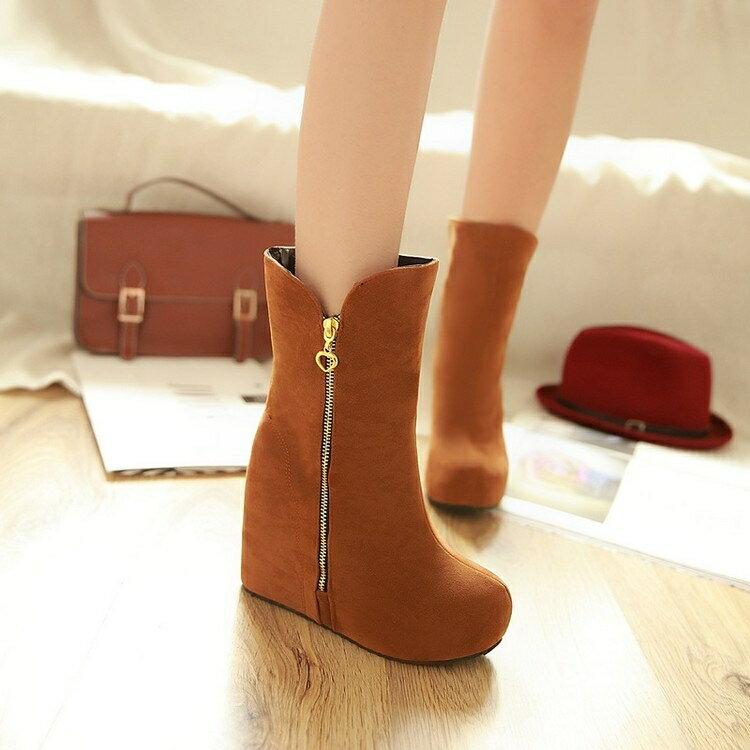 大碼短靴 定做小码内增高31秋冬季32高跟33大码坡跟中筒靴 40-43女靴子