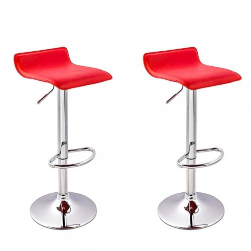 2 Pcs Red New Modern Adjule Synthetic Leather Swivel Bar Stools Chairs