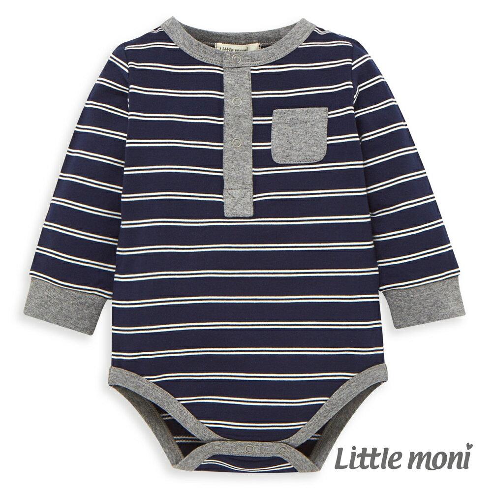 Little moni 條紋包屁衣-深藍 0