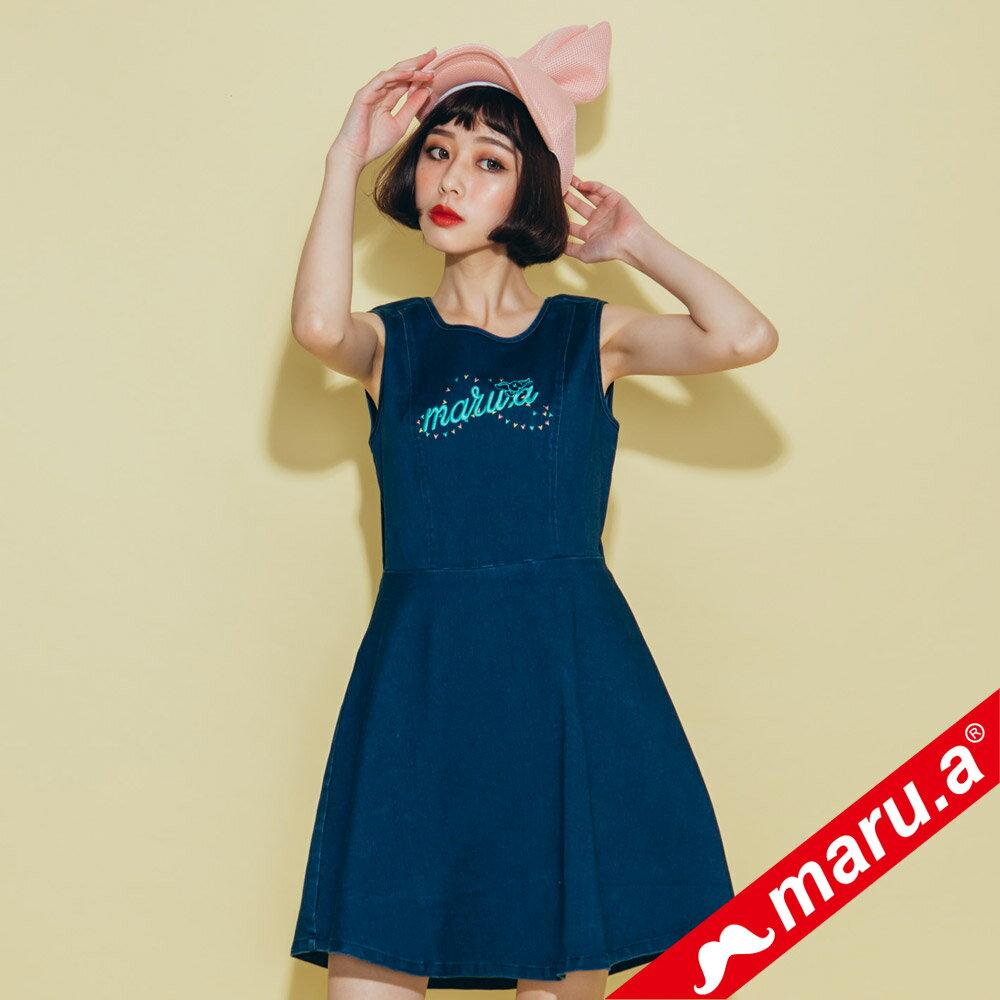 【maru.a】小飛象文字刺繡牛仔單寧洋裝(2色)8317117 3