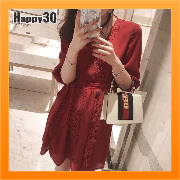 深V洋裝喇叭袖洋裝連身裙連身洋裝綁帶收腰洋裝蕾絲-紅白S-XL【AAA4943】