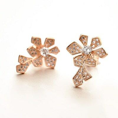 ~玫瑰金耳環925純銀鑲鑽耳飾~甜美氣質花朵 七夕情人節 女飾品2色73gs235~ ~~