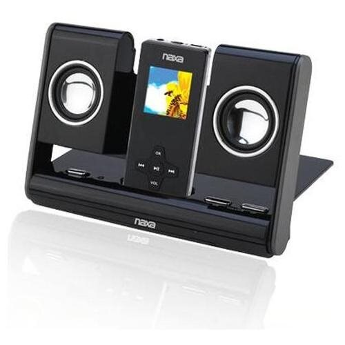 Naxa NAS-3002 Black Portable MP3 MP4 iPod Dock Foldable Speaker System